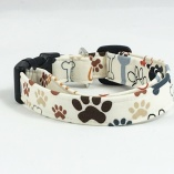 Chocolate Tawny Paw Print _ Bones Dog Pet Collar