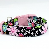 Garden Party with Pink Hardware Dog Pet Collar