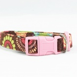 Cocoa Flower with Pink Hardware Dog Pet Collar