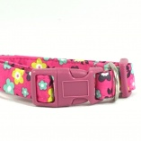 Bright Pink Flower Dog Pet Collar