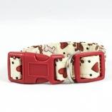 Tan and Red Bones and Pawprints Dog Pet Collar