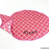 Personalized Pink Fish Feeding Mat Rug for Cats