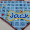 Custom Embroidered Blue Dog Scrabble Unique Pet Bandana with Personalized Dog Bone and Pet Name