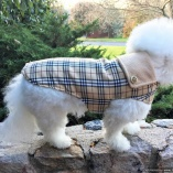 Famous Designer-Inspired Tan Plaid Coat for Dogs
