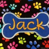 Custom Embroidered Cute Multi-color Paw Print Dog Bandana with Personalized Dog Bone and Name