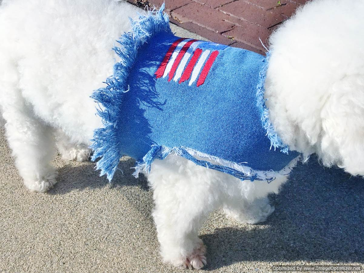 Totally Distressed Patriotic Stars n' Stripes Denim Vest Jacket for Pet Dogs