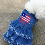 Distressed Patriotic Stars n' Stripes Fringe Holiday Dog Denim Dress