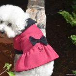Bella & Friends Fuchsia Boucle Cold Weather Designer Dress Dog Coat with Cozy Plush Interior for Small and Medium Dogs
