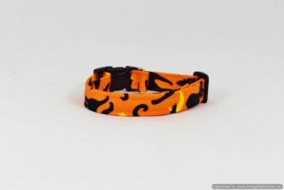 Dog Pet Collar - Halloween Spooky Cats with Harvest Moon & Stars