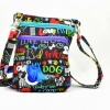 Dog Walker Bag Gift for Dog Lovers – with Built-in Waste Bag Dispenser and Holder in I love my Dog Theme – Free Waste Bags