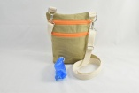 Dog Walker Bag Gift with Built-in Poop Bag Dispenser for Dog Lovers in Khaki Canvas with FREE Poop Bags