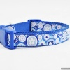 Rich and Intense Cobalt Blue Designer DOG COLLARS in Large Sizes