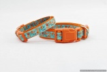Unique French Designer DOG COLLAR in S, M, L, XL – Orange Flowers on Turquoise