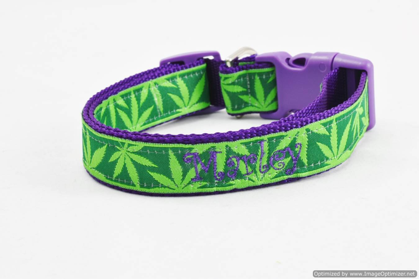 Personalized Pot Leaf Dog Collars In Large Sizes