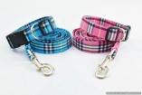 Stunning DOG  COLLAR & LEASH Set in Turquoise or Pink Burberry Style Nova Check Plaid Tartan
