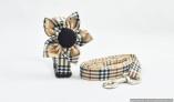 Stunning Furberry Style Dog COLLAR LEASH & FLOWER COMBO SET with Designer Nova Checks Tan Plaid Tartan