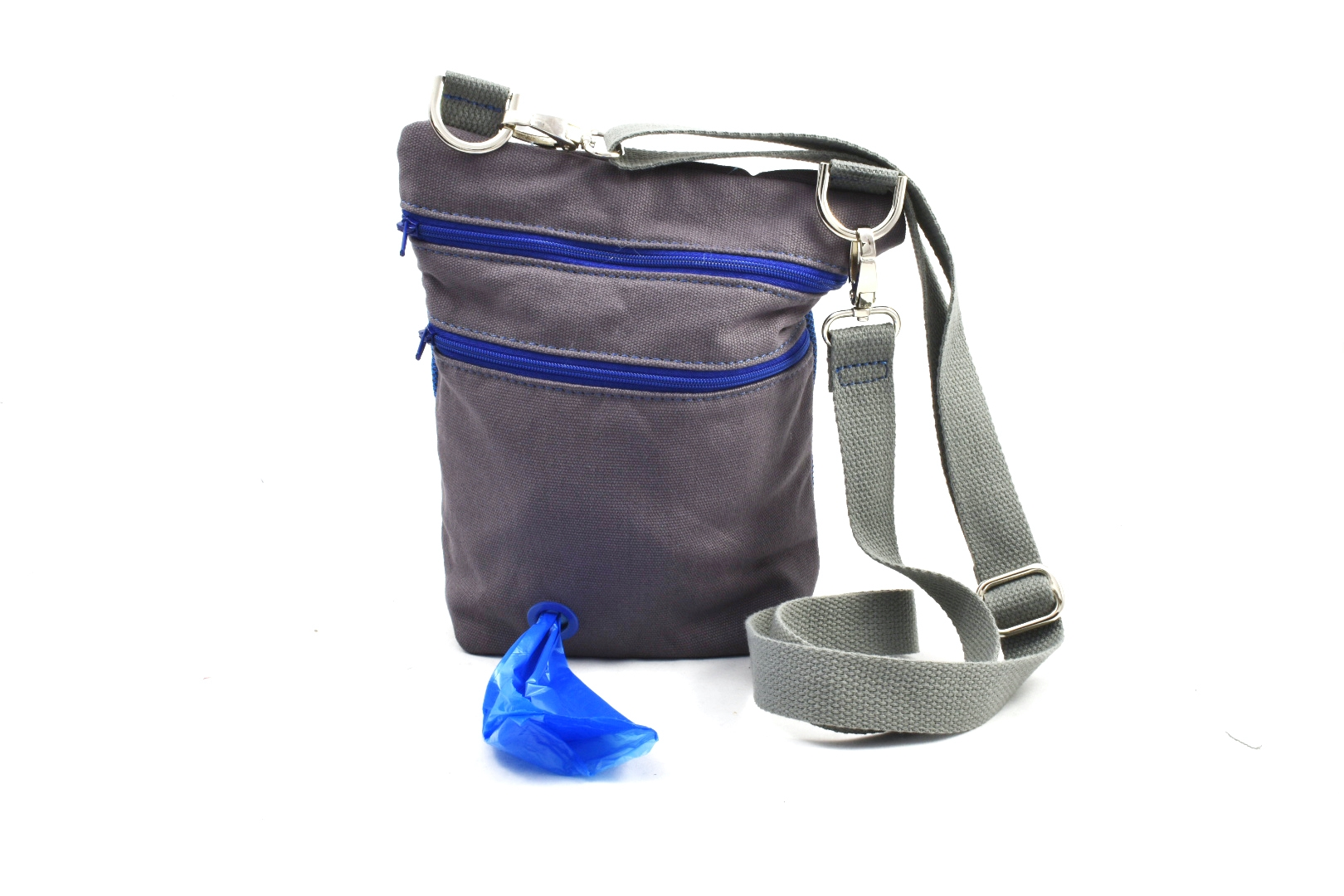 The Dog Walker Bag Treat Pouch with Built-in Poop Bag Dispenser in Grey  Canvas with FREE Poop Bags