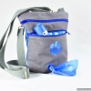 The Dog Walker Bag Treat Pouch with Paw Print and Built-in Poop Bag Dispenser in Grey Canvas with FREE Poop Bags