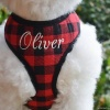Personalized Custom Mini Buffalo Plaid Soft Dog Pet Harness with Embroidered Dog or Cat Name