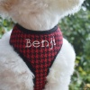 Personalized Custom Designer Red Houndstooth Plaid Soft Mesh Dog Harness with Leash Option with Pet's Name