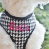 Personalized Designer Black Houndstooth Plaid Soft Dog Harness with both Leash and Name Option