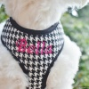 Personalized Designer Houndstooth Plaid Soft Mesh Dog Harness with Embroidered Dog's Name