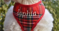 Embroidered Red Stewart Tartan Plaid Soft Dog Harness