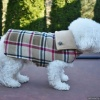 Custom Unisex Tan Plaid Warm Fleece Dog Coat for Winter in All Sizes