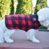 Custom Unisex Red Buffalo Plaid Warm Fleece Dog Coat for Winter in All Sizes