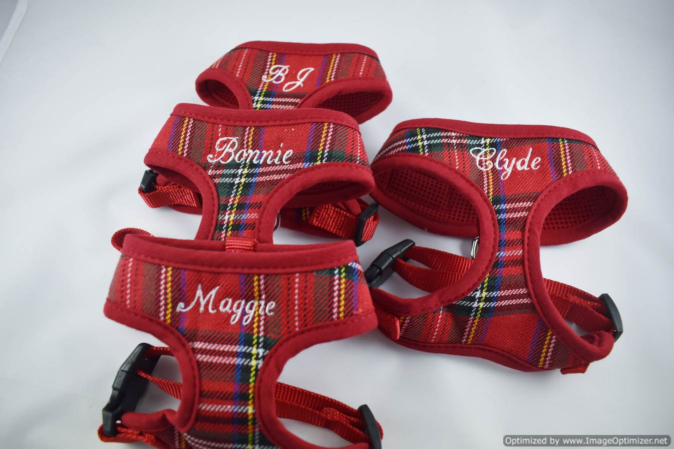 Personalized Custom Red Stewart Plaid Padded DOG Harness Adjustable Soft Comfortable Custom Embroidered Name or Order it Blank