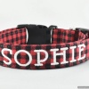 Red Buffalo Plaid Dog and Cat Collar with your pet's name or blank