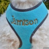 Custom Embroidered Turquoise Blue Plush Reflective Soft No Choke DOG Harness Personalized with your Pet's Name or Blank
