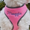Custom Embroidered Pink Plush Dog Cat Reflective Soft Harness Personalized with your Pet's Name or Blank