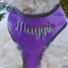Custom Embroidered Purple Plush Reflective Soft Dog Cat Harness Personalized with your Pet's Name or Blank