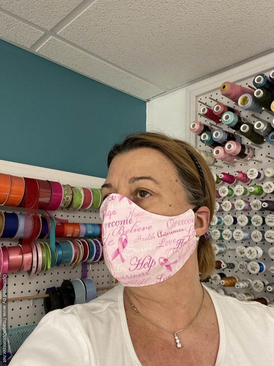 Buy An American Made Breast Cancer Awareness Protective Cloth Face Mask Sassy Dog Fashions