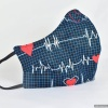Custom Heart Beat Contoured Reversible Cloth FACE MASK for Health Care Worker and Nurses