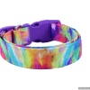 Handmade Multi-color Tie Dye Dog Collar with Personalization Name Option in All Sizes for Males and Females