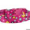 Handmade Hot Pink Floral Pet Dog Collar with Personalization Name Option in All Sizes