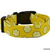 Handmade Happy Yellow Paw Print Pet Theme Dog Collar with Personalization Name Option in All Sizes