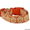 Handmade Burnt Orange Damask Print Dog Collar with Personalization Name Option in All Sizes