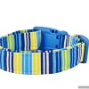 Handmade Multi-Color Blue Striped Dog Collar with Personalization Name Option in All Sizes