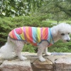 Warm and Soft Rainbow Stripes Plush Fleece Dog Sweater and Puppy Pullover