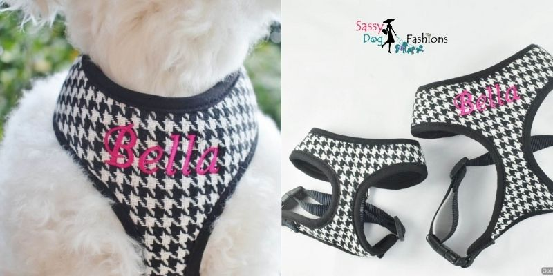Designer Black Houndstooth Plaid Soft Dog Harness